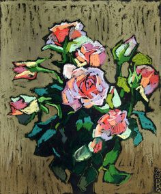 Pastel Artwork, Oil Pastel Paintings, Oil Pastel Art, Oil Painting Flowers, Oil Pastels, Plant Drawing, Painting & Drawing, Art Drawings For Kids, Botanical Drawings