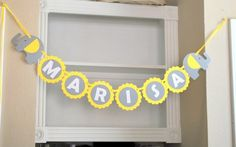 Baby Shower Banner name, Elephant baby shower in baby Yellow Grey and White, Welcome Baby party banner A460