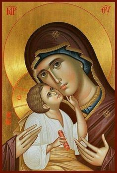 Icons:holy image of Christ, the Virgin Mary, or a saint venerated in the Eastern Orthodox Church Byzantine Icons, Byzantine Art, Blessed Mother Mary, Blessed Virgin Mary, Religious Icons, Religious Art, Virgin Mary Painting, Virgin Mary Art, Image Jesus