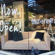 And we are open!! Oh and how amazing is this sofa.... #newstore #takapuna #shutthefrontdoorstore #464lakeroad #sofalove #velvet #meandmytrend #blush #blushvelvet #windowdressing