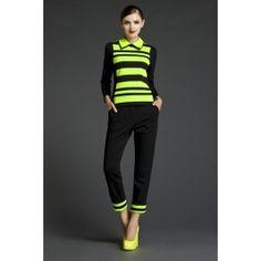 Frühling 2016 Hosenanzug für Damen Sweater + Hose in Schwarz Gelb