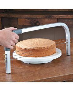 Learn to level cakes like the professionals! Get it here: www.bhg.com/shop/chefs-catalog-fat-daddios-professional-cake-leveler-20-inch-p511d4658e4b070c3822317e9.html?mz=a