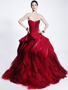 red is not my fav color but i love this dress. zacposen