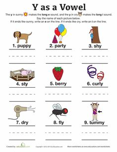 Sounds of Y Worksheet | reading | Pinterest | A well, Cut and ...