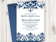 Printable wedding invitation template elegance royal blue word elegant wedding invitation printable template cathedral ornaments in navy blue diy wedding invitates stopboris Images