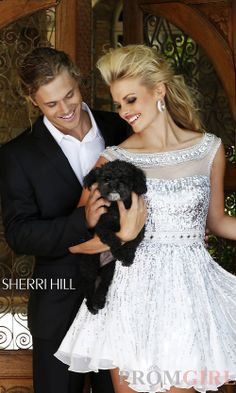 Sherri Hill 8518 - Prom Dresses, Celebrity Dresses, Sexy Evening Gowns at PromGirl: Short Sequin High Neck Dress with Cap Sleeves