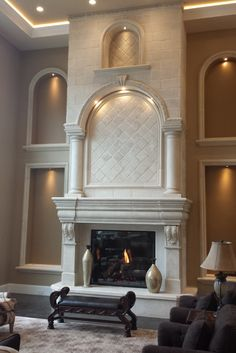 Fireplace Built Ins, Fireplace Inserts, Fireplace Mantle, Living Room With Fireplace, Home Living Room, High Ceiling Decorating, Victorian Decor, Great Rooms, Normandy