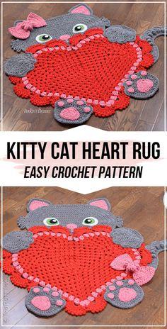 crochet Kitty Cat Heart Rug pattern - easy crochet rug pattern for beginners Knitting ProjectsKnitting FashionCrochet PatronesCrochet Bag Crochet Mat, Crochet Carpet, Crochet Dolls Free Patterns, Crochet Bebe, Cat Crochet, Free Crochet, Cat Rug, Granny Square Crochet Pattern, Knitting For Beginners