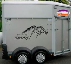 Sponsored By Daddy... Race Horses vinyl adhesive stickers graphics for horsebox, horse lorry, horse trailer sign. Quality 5-7 year vinyl. Funny sayings/quotes.
