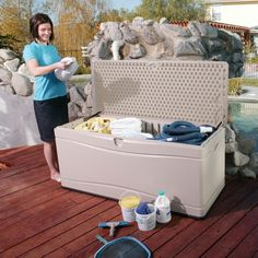 Lifetime 60040 Outdoor Plastic Gallon Box Deck for sale online Patio Storage, Outdoor Storage Sheds, Shed Storage, Storage Containers, Storage Boxes, Basketball Equipment, Pool Equipment, Sports Equipment, Plastic Decking