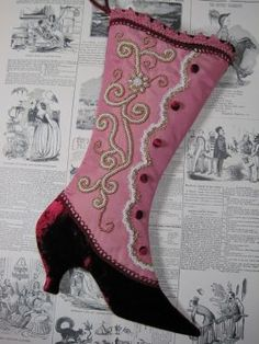 @  Victorian Boot with taffeta and velvet, trims, buttons and beading....