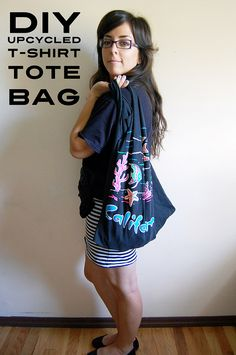 Use your old t-shirts and turn them into tote bags. kinda cute huh?  Kids Large and Adult small work best.  Adult larges are WAAAY too big.  Upcycled T-shirt Tote Bag tutorial #diy