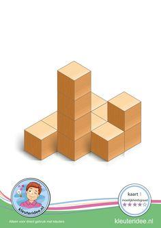 Bouwkaart 1 moeilijkheidsgraad 4 voor kleuters, kleuteridee, Preschool card building blocks with toddlers 1, difficulty 4, free printable.