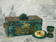 Купить Малахитовая шкатулка для украшений Каменный цветок Подарок девушке. - зелёный, малахитовая шкатулка