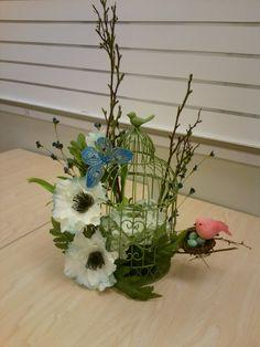 birdcage arrangement; artificial floral pieces, nest & bird. supplies from JAS