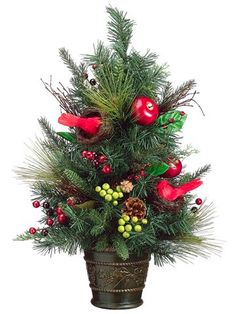 """$39.99-$54.99 24"""" Cardinal Wonderland Pre-Decorated Artificial Christmas Tree - Unlit - From the Cardinal Wonderland Collection Item #XDY158-RE/GR  Product Features: Pre-decorated with artificial apples, red and green berries, pine cones and cardinals in nests Unlit Long and short mixed pine needles add a realistic touch Tips feature bendable wire for easy shaping to help accommodate your decora ..."""