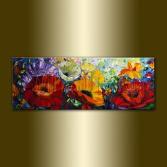 Poppy Fields Red Poppies Floral Canvas Modern Flower by willsonart, $235.00