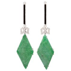 Jade Onyx & Diamond Earclips | From a unique collection of vintage drop earrings at http://www.1stdibs.com/jewelry/earrings/drop-earrings/