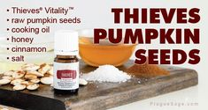 Recipe: Thieves Oil Pumpkin Seeds - Thieves twist on popular fall snack Cinnamon Oil, Honey And Cinnamon, Raw Pumpkin Seeds, Fall Snacks, Cooking Oil, Healthy Alternatives, Preserves, Essential Oils, Baking