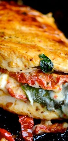 Sundried Tomato, Spinach, and Cheese Stuffed Chicken ~ Seriously delicious