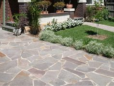 Porphyry Crazy Paving natural stone flooring by Eco Outdoor is a great option when working with curves in a garden, landscape or home design project. Driveway Tiles, Stone Driveway, Driveway Design, Outdoor Paving, Outdoor Stone, Outdoor Tiles, Gravel Walkway, Garden Pavers, Backyard Patio