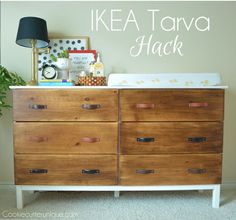 ikea hack tarva dresser, painted furniture, repurposing upcycling love the drawer pulls. great idea using old leather belts