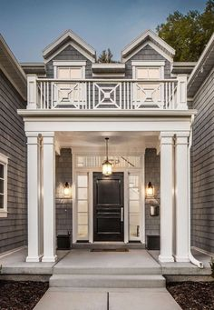 Beautiful architecture and portico railing inspiration from a home by The Fox Group. Come be inspired by more timeless design. Porte Cochere, Building A Porch, Building A House, Style At Home, Balustrade Balcon, Porch Posts, Balcony Railing, Porch With Railing, Railing Design