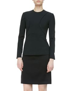 Long-Sleeve Curved-Seam Top by Alexander Wang at Bergdorf Goodman