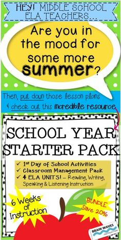 Make the beginning of your school year as simple as possible with this bundle of six resources for the Middle School ELA classroom. Each resource is extremely detailed, engaging, and geared to middle school students. From the first day of school to classroom management to four journey-themed reading, writing, listening, and speaking units, this resource has everything you need to get your school year off to a great start! (Six weeks of instruction total!)