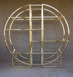 Vintage Gold or Brass Tone Circular Round Form Etagere Vitrine Shelves in the Style of Milo Baughman