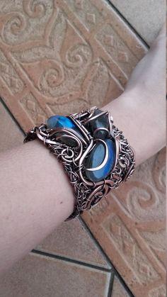 Labradorite  gemstone bracelet,Statement wire bracelet,Wire wrapped bracelets,Wire bracelet,Copper wire bracelet,Bohemian bracelet by Tangledworld on Etsy