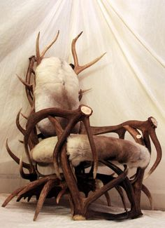 Very Cool! Handcrafted antler furniture including chairs, stools, and benchs made from moose, deer, elk, and caribou antler.