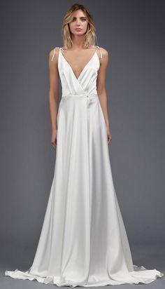 Victoria Kyriakides bridal spring 2017 - draped V-neck wrap wedding dress