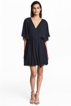 Vestido corto de gasa - Azul oscuro - MUJER | H&M ES 1