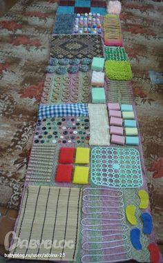 Montessori Nature: DIY Sensory Rugs for Kids for autism Alzheimer's SPD ADHD pain dementia Diy Sensory Board, Sensory Wall, Sensory Rooms, Diy Sensory Toys, Sensory Tubs, Diy Toys, Montessori Materials, Montessori Toys, Montessori Toddler