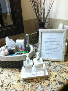 Hospitality basket for the women's restroom at the venue www.the wedding stager.com