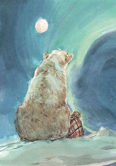 Новости                                                                                                                                                                                 More Moon Drawing, Drawing Art, Art Drawings, Polar Bear Illustration, Children's Book Illustration, Polar Bear Drawing, Polar Bear Tattoo, Bear Girl, Mishka
