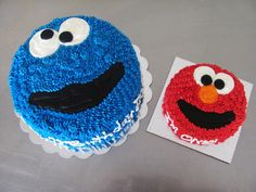 Cookie Monster birthday cake and Elmo smash cake at NashvilleSweets.com