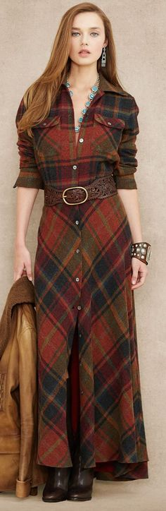 Ralph Lauren plaid wool cashmere maxidress. This is fabulous. women fashion outfit clothing style apparel @roressclothes closet ideas