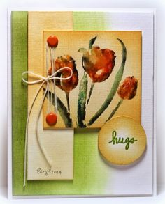 One more card with the lovely Tulips from Penny Black !!   You can find them here; Promise Me         Thanks!