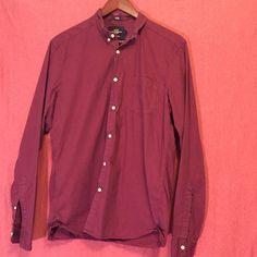 MENS burgundy button up Lightly worn but still in great condition. Men's medium H&M Tops Button Down Shirts