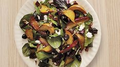 Roasted Beet, Apple, and Pear Salad with Goat Cheese, Cherries, and Pecans - FineCooking Vegetable Salad Ingredients, Roasted Vegetable Salad, Roasted Vegetables, Veggies, Tostadas, Salad Recipes, Healthy Recipes, Beet Recipes, Healthy Menu