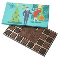 Retro Holiday Cartoon Couple Box of Chocolates--#Christmas #holidays #chocolates #retro #midcenturymodern #martinis #Zazzle