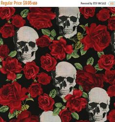 Black Skulls & Roses fabric sold by the yard:   Fabric Maker: Timeless Treasures  Designer: unknown  Collection: Theme  Theme: skulls and red roses…