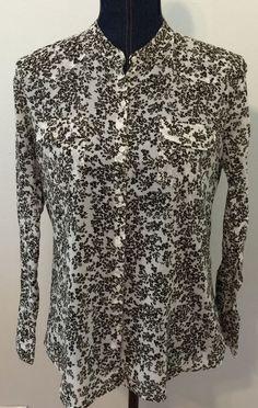 Gap Womens Floral Button Down Long Sleeve Shirt Size Medium Brown White Cotton #GAP #ButtonDownShirt #Casual
