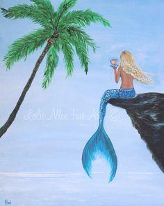 "Mermaid Art Mermaids Wall Art Print Woman Girl Girls Fantasy Sea Sea Mythical  ""Mermaids Beautiful Reflection ""  Leslie Allen Fine Art"