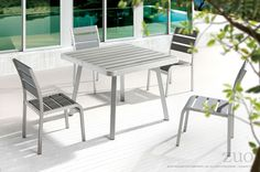 Zuo Township Dining Square Table Brushed Aluminum.