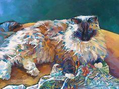 Louisiana Edgewood Art Paintings by Louisiana artist Karen Mathison Schmidt: Raffles, cover cat!