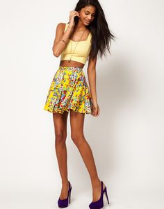 Motel Ditsy Floral Skater Skirt #r29summerstyle