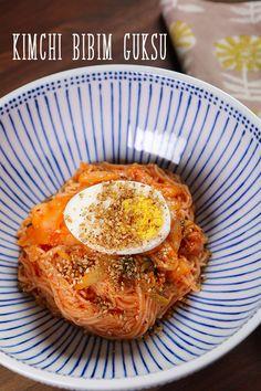 Kimchi Bibim Guksu Recipe and Video Lettuce Wrap Recipes, Chicken Salad Recipes, Tofu Recipes, Curry Recipes, Asian Recipes, Hawaiian Recipes, Dinner Recipes, Recipes, Kitchens